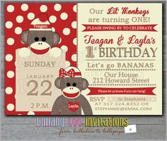 Sock Monkey Birthday Invitations Twins 207 by LullabyLoo on Etsy