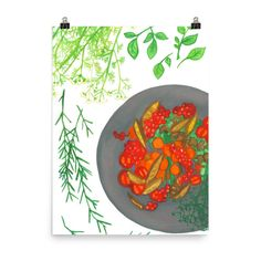 Fresh herbs and delicious food. Based on an original painting by artist and illustrator Niina Niskanen. Museum-quality posters with vivid prints made on thick and durable matte paper. A statement in any room, these puppies are just the accent your room Illustration Artists, Food Illustrations, Original Artwork, Original Paintings, Orange Art, Grey Art, Watercolor Artists, Whimsical Art, Online Portfolio