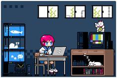 GoBoiano - Explore Japan With Pixel Art of Everyday Scenes Pixel Art Anime, Pixel Art Gif, Vaporwave, Animation Pixel, Arte 8 Bits, Anime Gifs, Cyberpunk, Gif Animé, Japanese Artists