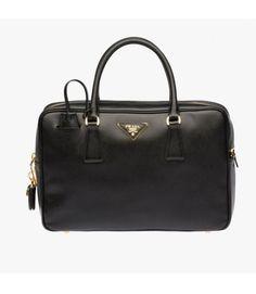 Prada 1BB095 Leather Top-Handle Bag In Black