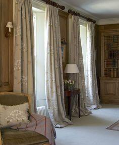 Floor length Hydrangea & Butterfly Linen curtains, Susie Watson
