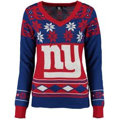 Women's New York Giants NFL Klew Royal/Red Big Logo V-Neck Ugly Sweater