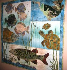 Fishy quilt; still can't believe someone made this using fabric!