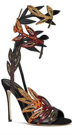 Sergio Rossi dresses your legs up with these crystal leaves Spring 2014 Sandals #Shoes #Heels