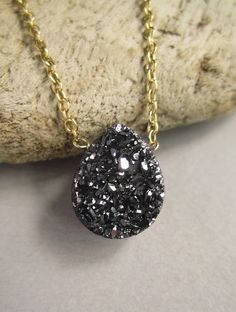 Black Druzy Necklace Titanium Drusy 14K GF Cable Chain. $64.00, via Etsy.