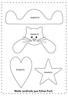 Template for Cat Gift Felt Christmas Decorations, Felt Christmas Ornaments, Christmas Crafts For Kids, Xmas Crafts, Christmas Projects, Felt Crafts, Christmas Diy, Diy And Crafts, Christmas Wonderland