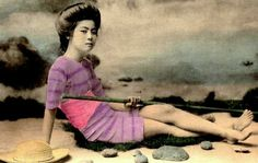 The Japanese swimwear models of 1868: Retouched photos show 19th century bikinis | Mail Online