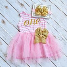Pink+and+Gold+Tutu+Dress+with+Gold+Bow+Headband+-+1st+Birthday