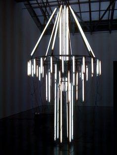 Banks Violette and Jan Dibbets Strip Lighting, Cool Lighting, Modern Lighting, Lighting Design, Chandeliers, Light Installation, Art Installations, Light Painting, Painting Art