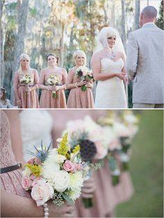 outdoor wedding ceremony with pink accents