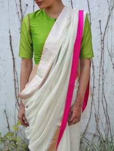 Buy Ivory Chanderi & Zari Marigold Saree by Raw Mango Online Saree Blouse Designs, Blouse Patterns, Sari Blouse, Indian Dresses, Indian Outfits, Indian Clothes, Lehenga, Anarkali, Sabyasachi
