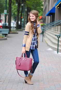 Cute fall look - plaid button-up with Varsity sweater