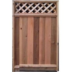 6-ft X 3-ft Cedar Fence Gate With Diagonal Lattice Top