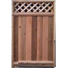 6-ft X 3-ft Cedar Fence Gate With Diagonal Lattice Top