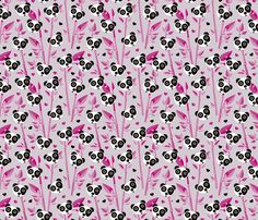 Sweet baby bamboo and panda forest asian animals pink black and white - custom fabric and wallpaper inspiration for kids clothes fun fashion and trendy home decorations.