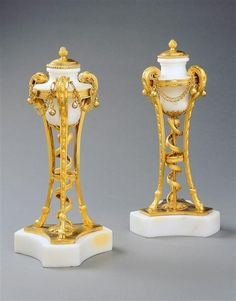 A PAIR OF WHITE MARBLE AND GILT BRONZE CASSOLETTES, France, circa 1785. A pair of Louis XVI white marble and gilt bronze