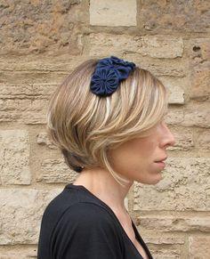 Adult Headband - Rosette Headband, Navy Blue Shantung Silk Trio Rosette Headband For Women and Girls. $12.00, via Etsy.
