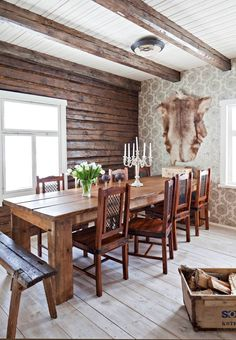 Cabin Homes, Log Homes, Dining Room Blue, Dining Table, Dining Rooms, Knotty Pine Walls, Pole Barn Homes, Cottage Interiors, Wooden House