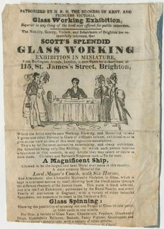 Corning Museum of Glass: A recent addition to the Rakow Library collection, this handbill is an advertisement for a glass demonstration in Brighton, England, circa 1830. The page features a woodcut image of a glass artist surrounded by onlookers, as well as several pieces of glass and a spinning wheel used to spin glass. We know little about the glass worker Scott – only that he was patronized by H.R.H. the Duchess of Kent and Princess Victoria (crowned Queen Victoria in 1837).
