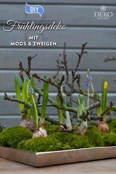 DIY: beautiful Easter decoration with moss & twigs - DIY: Oster Deko Ideen -