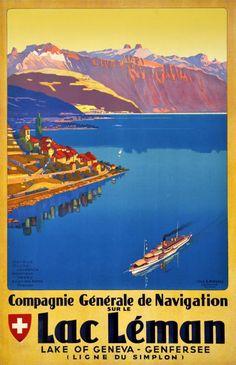 Genève Lac de Genève Compagnie Générale de Navigation Johannes Emil Muller 1935
