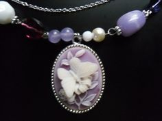"Beautiful BUTTERFLY CAMEO NECKLACE white/lavender/purple Jewels 21"" Length #Pendant"