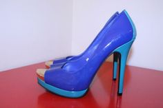 Mossimo Shoes 9.5 Blue Royal Turquoise Peep Toe Platform Stiletto Heel Pumps #Mossimo #Stilettos #CasualParty