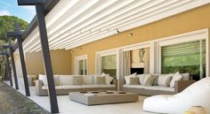 Pergola Attached To House Roof Curved Pergola, Pergola Curtains, Pergola Attached To House, Metal Pergola, Deck With Pergola, Covered Pergola, Pergola Shade, Pergola Kits, House