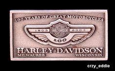 Harley Davidson 100th Anniversary Items | HARLEY DAVIDSON ANNIVERSARY SQUARE LOGO PIN 100TH CARD **OBSOLETE ITEM ...