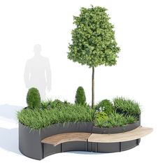 3D model Flo planter | CGTrader metalco pot acer maple scandinavian outdoor tree metal street bench furniture flora nature garden exterior landscape