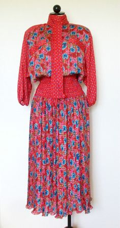 Diane Freis Vintage 1980's Red and Blue Floral Vintage Attached Scarf Pleated Skirt Secretary Dress, $120.00