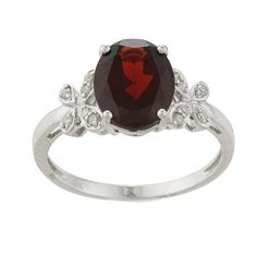 <li>Garnet and diamond ring</li><li>10-karat white gold jewelry</li><li> <a href='http://www.overstock.com/downloads/pdf/2010_RingSizing.pdf'><span class='links'>Click here for ring sizing guide</span></a></li>