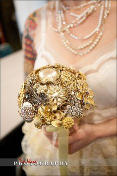 From OUR wedding! My vintage brooch bouquet.  No flowers were harmed in the making of our wedding :)