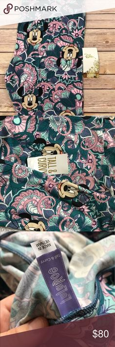 Lularoe Disney HTF Paisley Minnie NWT TC New with tags LLR Disney collection tall and curvy leggings with a floral paisley background with Minnie mouse heads- unicorn print & superrrrrr soft LuLaRoe Pants Leggings