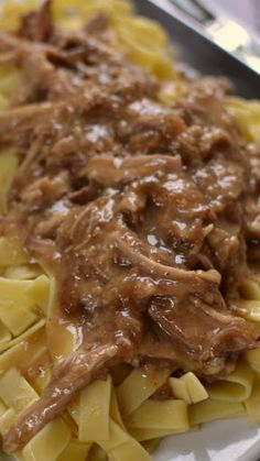 Crock Pot Pork and Noodles is such great comfort food! Who could resist savory gravy with slow cooked pork over egg noodles? Crockpot Dishes, Crock Pot Slow Cooker, Crock Pot Cooking, Pork Dishes, Slow Cooker Recipes, Crockpot Recipes, Cooking Recipes, Easy Cooking, Yummy Recipes