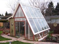 Nice a frame green house with small home hydroponics system
