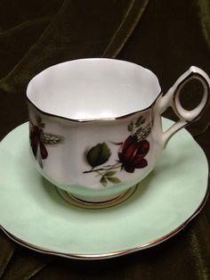 Teacup and saucer Fine bone China Elizabethan England rose sale by buttonsandbottles on Etsy