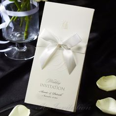 White Ribbon Simple Wedding Invitations - IP 5036 | ItsInvitation