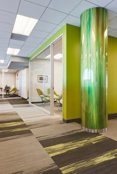 Interior Design, Architecture Inspiration, Office Design, Custom Metals, Móz Designer Metals, Contemporary Modern Column Covers in Blendz 318-Bamboo in the AAA Corporate Offices - Inviting Imagination #InvitingImagination #ColumnCovers #MozDesignerMetals