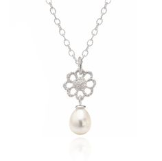 www.ORRO.co.uk -Brigitte Adolph – Small Silver Flower & Pearl Pendant - ORRO Contemporary Jewellery Glasgow...