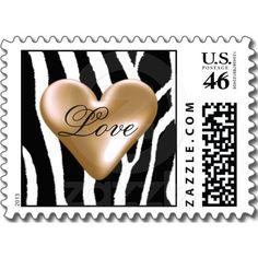 Zebra Pattern with Mocha Heart Postage