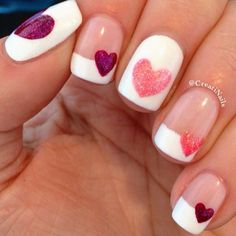 Hearts. French tips. And glitters. The greatest combinations for a simple and clean, date night nail polish design.