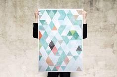 Watercolour Geometric Triangles Scandinavian Art Print Poster Sources Of Fiber, Wooden Hangers, Scandinavian Art, Canvas Prints, Art Prints, Packaging Design, Poster Prints, Colours, Triangles