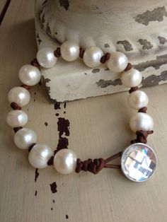 BoHo Glam White Large Freshwater Pearl Leather Knotted Swarovski Crystal Button Bling Simple Neutral Layering Bracelet on Etsy, $48.00