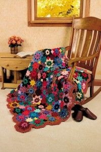 crocheted fall flowers afghan.