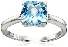 Sterling Silver Swiss Blue Topaz Cushion Ring, Size 7. Sterling silver ring with cushion-cut Swiss blue topaz stone. Imported.