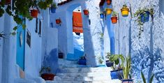 Chefchaouen, in the north west of Morocco has a famous, unique old town that is famous for its striking blue walls. Looking like somewhere that has fallen out of a Picasso painting from his infamous blue period, Chefchaouen has existed since 1471 Chefchaouen Morocco, Voyager Loin, Blue City, Belle Villa, Blue Dream, Blue Walls, Day Tours, Old Town, Shades Of Blue