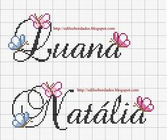 Neste blogger você encontra gráficos lindos e idéias para seus bordados, pode copiar a vontade Cross Stitch Letters, Cross Stitch Baby, Cross Stitch Pictures, Letters And Numbers, Le Point, Cross Stitching, Pixel Art, Crochet Projects, Baby Gifts