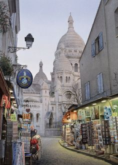 les lumières de Montmartre- Aquarelle de Thierry DUVAL
