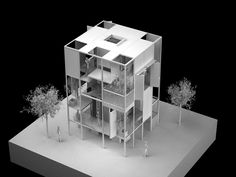 korean architect, younghan chung pairs an experimental home with an adjacent office to create a merging of space, promoting functionality. Architecture Design, Architecture Model Making, Pavilion Architecture, Gothic Architecture, Residential Architecture, Architecture Diagrams, Japanese Architecture, Sustainable Architecture, Contemporary Architecture